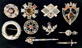 Group of 10 Victorian Scottish Silver Jewelry