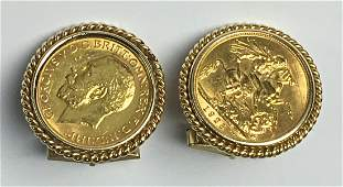 Pair King George V Gold Sovereign Coin Cuff Links