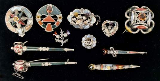 11 Pcs Victorian Scottish Silver Stone Jewelry