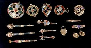 15pcs 9K Gold & Stone Celtic Scottish Jewelry