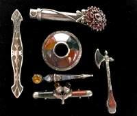 6 Pcs Victorian Scottish Silver Jewelry