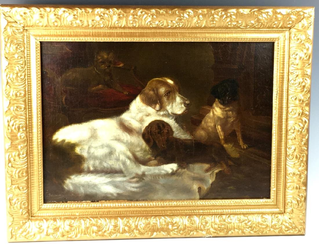 Antique Painting Group of 4 Dogs Resting Sgd E Robinson