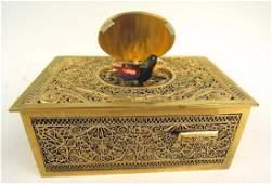 Antique Gilt Bronze Mechanical Singing Bird Box
