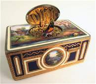 Antique Gilt & Enamel German Singing Bird Box