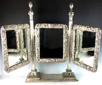 Antique Silver Plate Fancy 3 Part Vanity Mirror