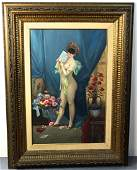 Painting of Masked Nude in Parlour Setting