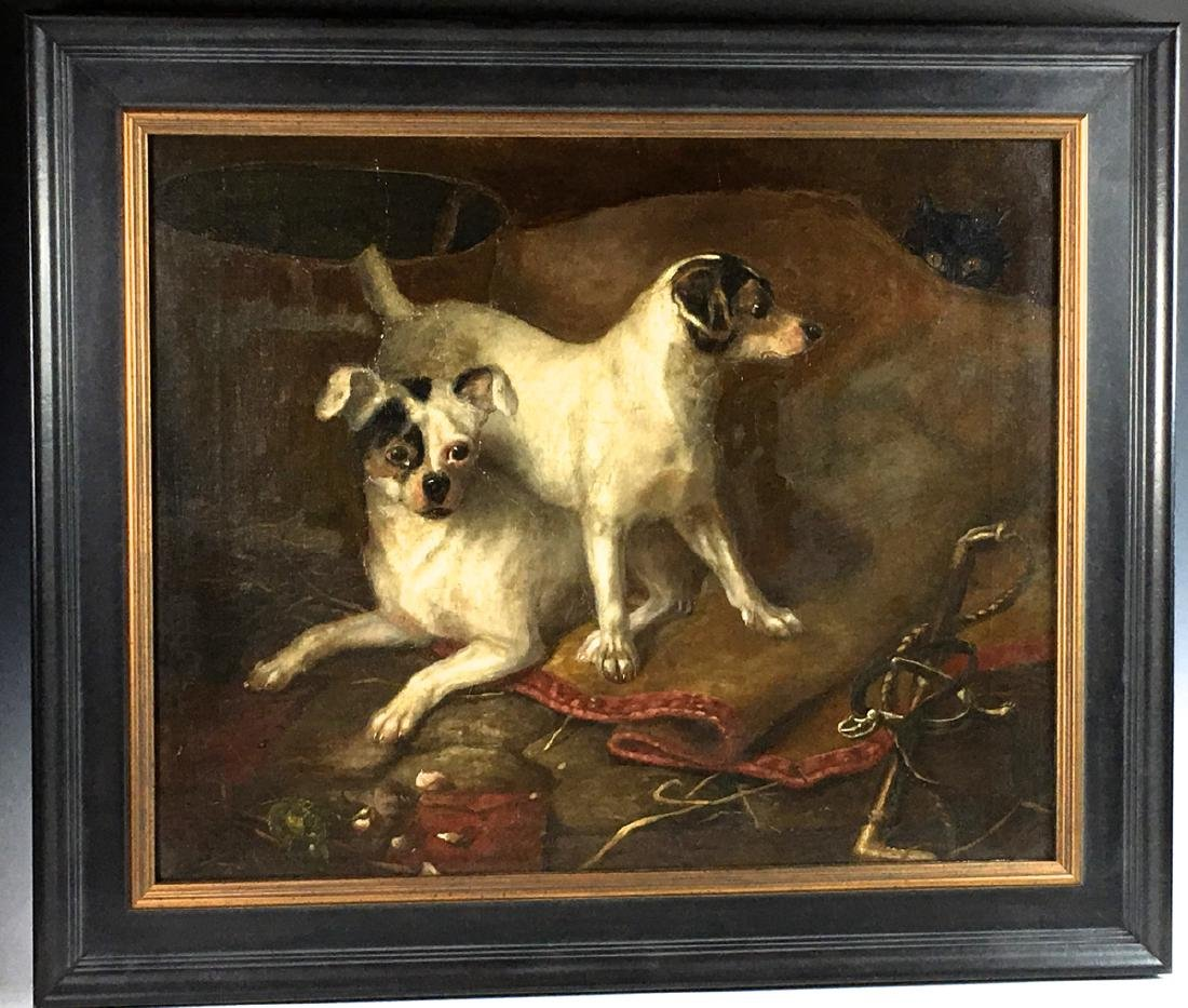 "John Fitz Marshall ""2 Dogs and a Cat"" Painting"