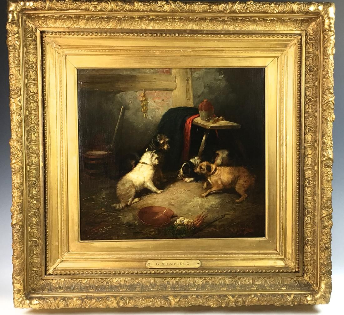 """G. Armfield Painting """"Group of Dogs Ratting"""""""