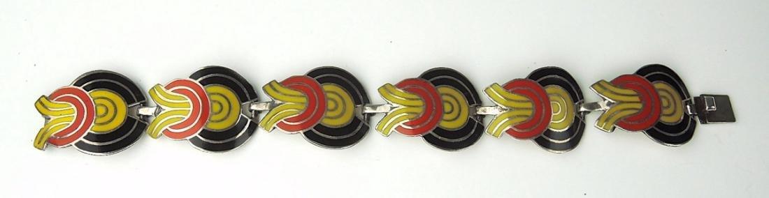 Mexican Modernist Silver & Enamel Bracelet