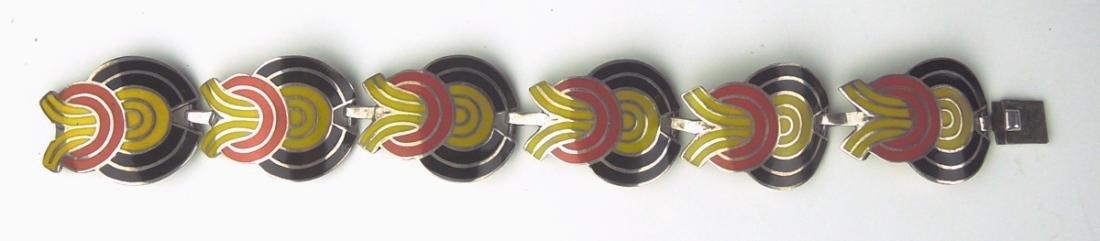 Mexican Modernist Silver & Enamel Bracelet - 2