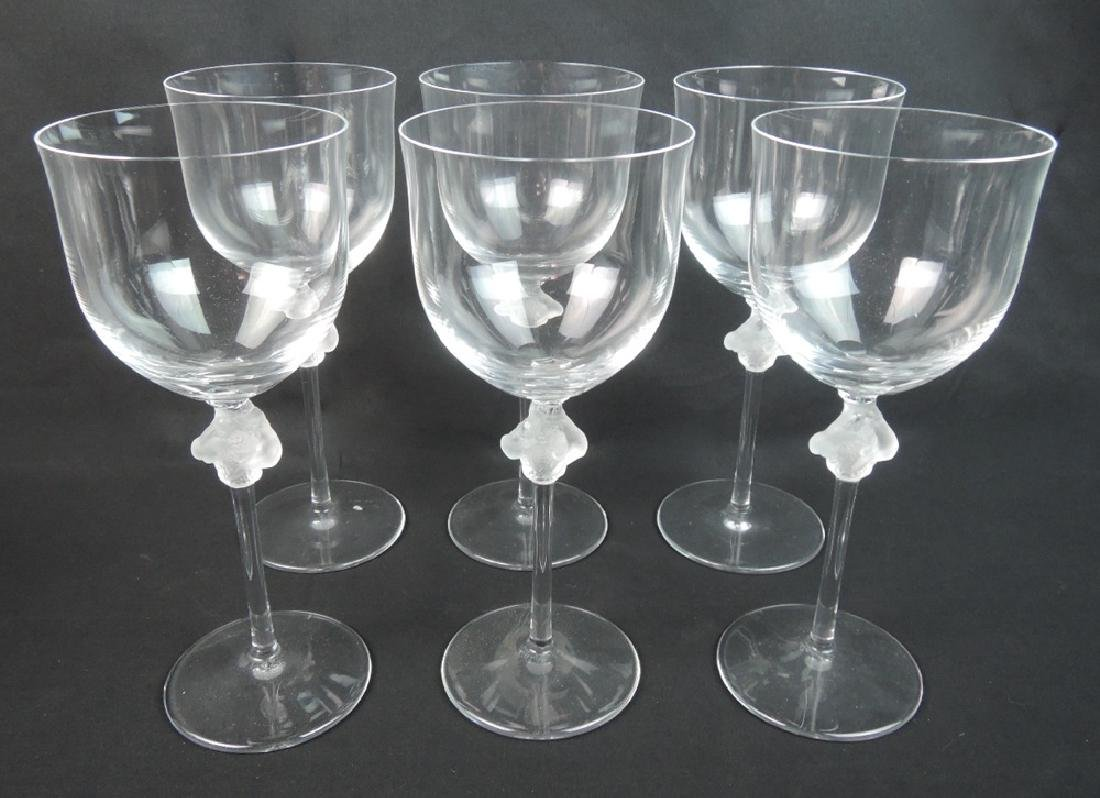 "Set of 6 Lalique Wine Glasses ""Roxanne"" Pattern"