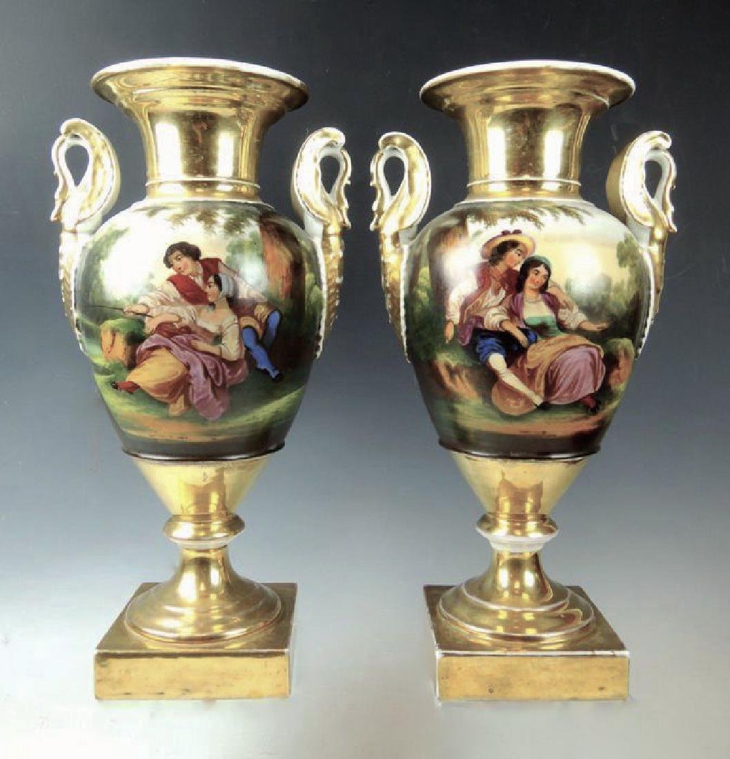 Pair Handpainted Scenic Old Paris Urns - 2