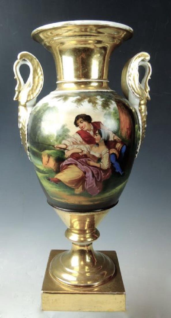 Pair Handpainted Scenic Old Paris Urns - 3
