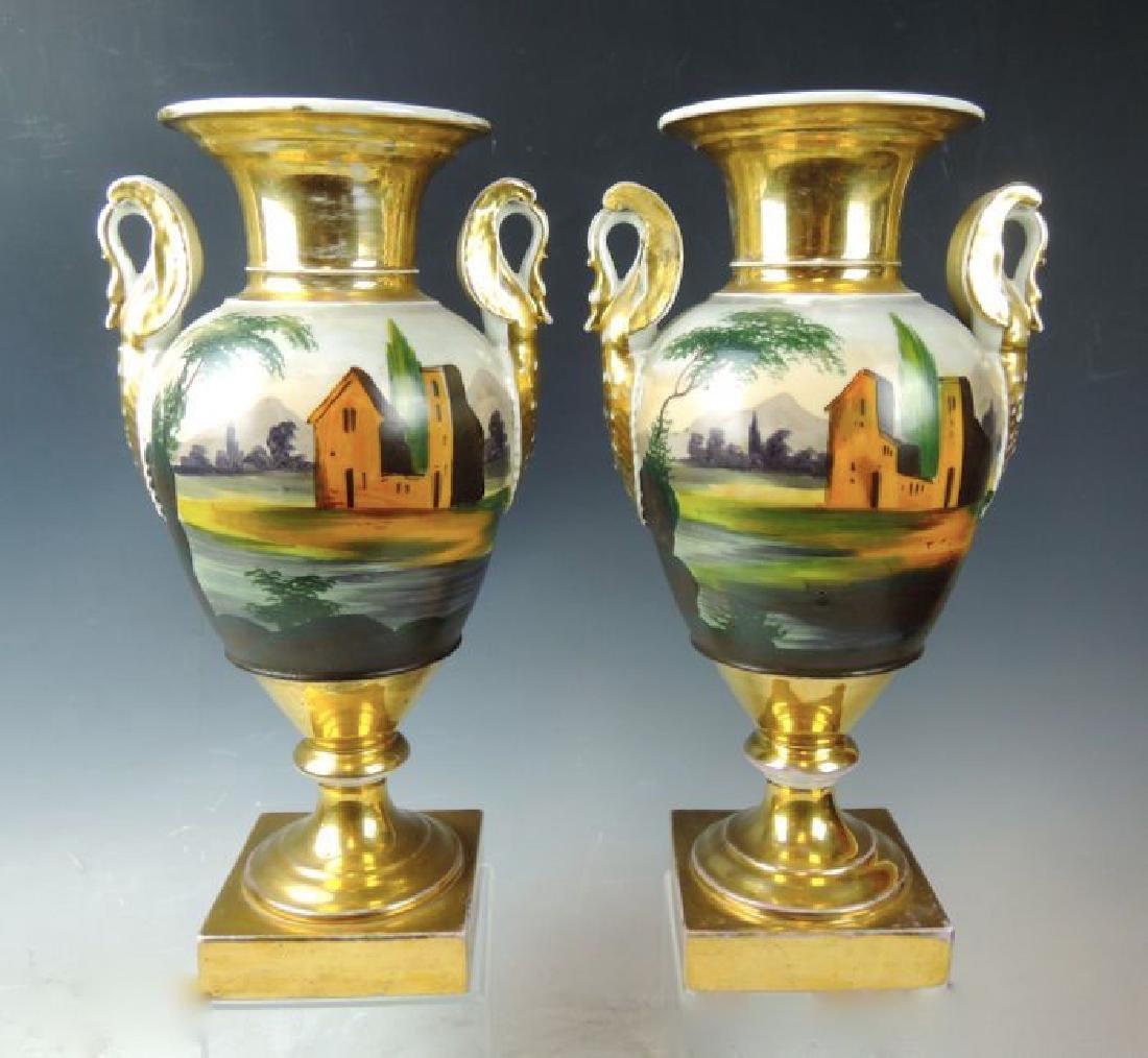 Pair Handpainted Scenic Old Paris Urns - 4