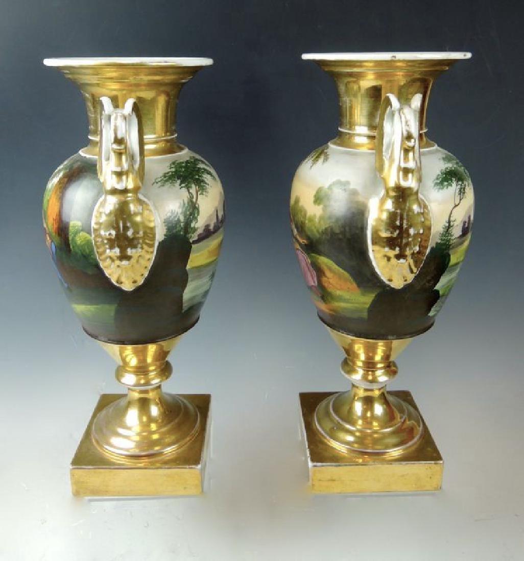 Pair Handpainted Scenic Old Paris Urns - 5