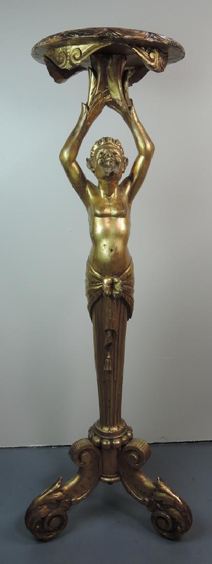 Gilded Carved Figure of a Devil Pedestal