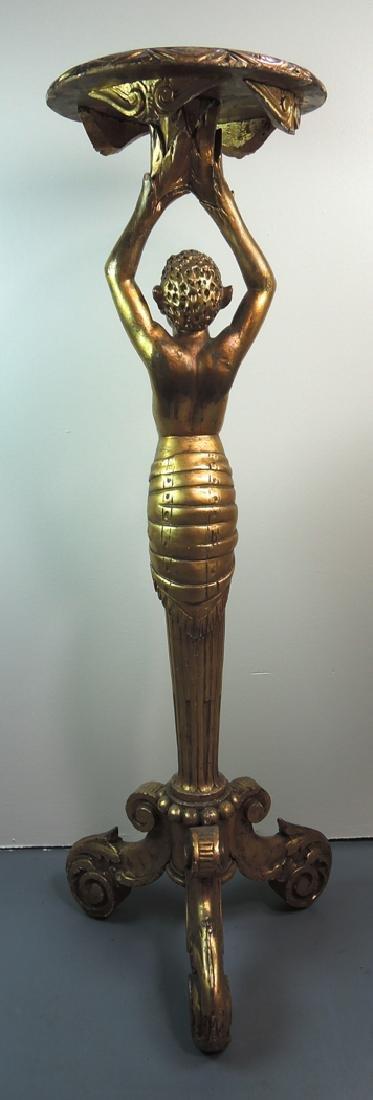 Gilded Carved Figure of a Devil Pedestal - 2