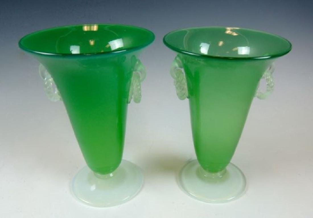 Pair Steuben Green Jade Vases