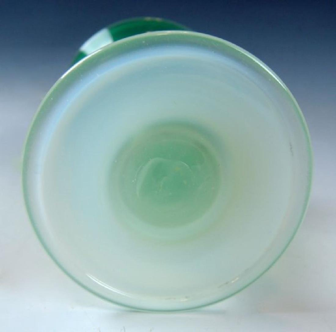 Pair Steuben Green Jade Vases - 4