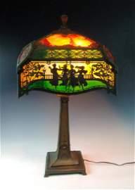 Spectacular Scenic Filigree Metal Overlay Lamp
