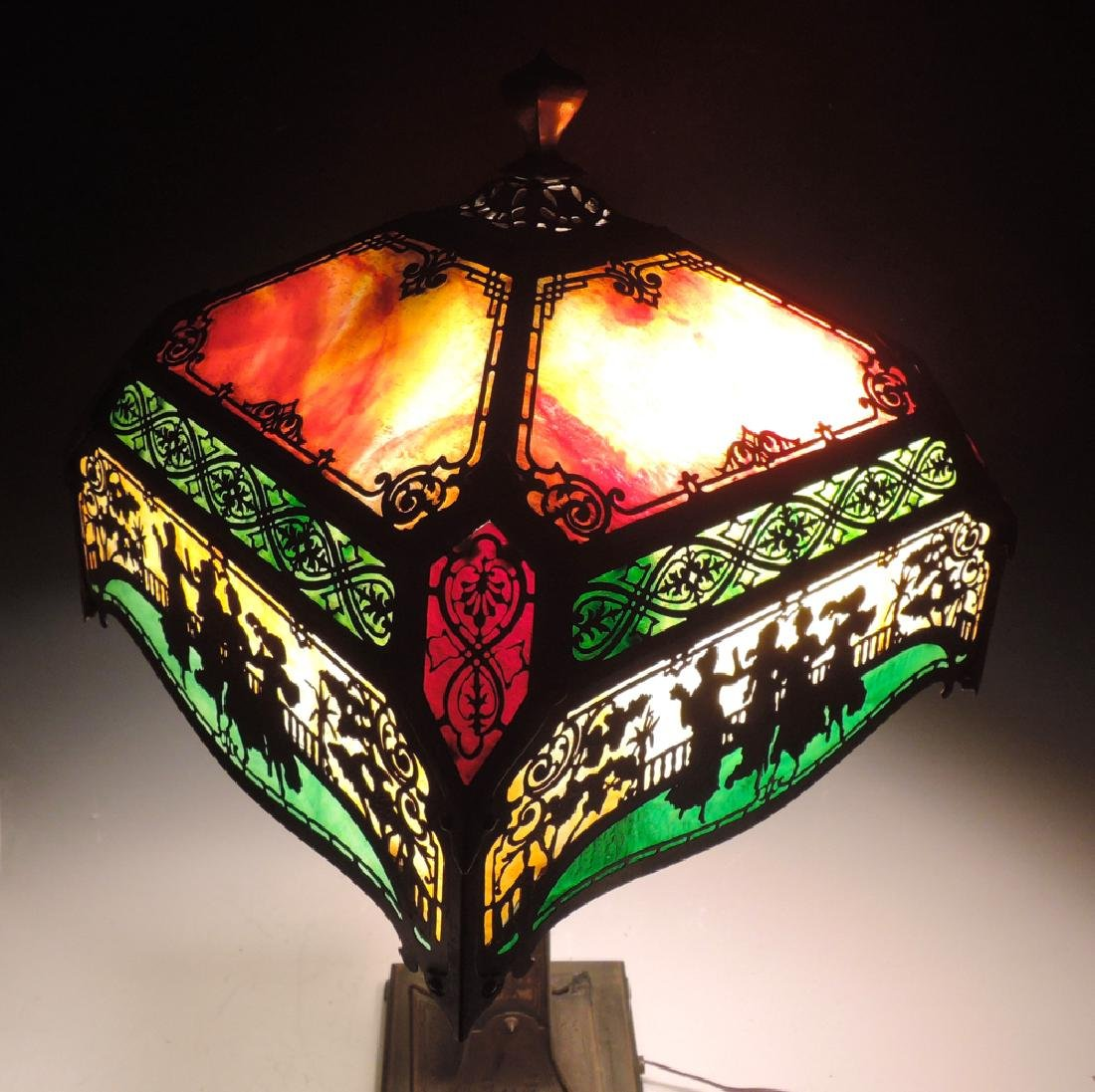 Spectacular Scenic Filigree Metal Overlay Lamp - 2