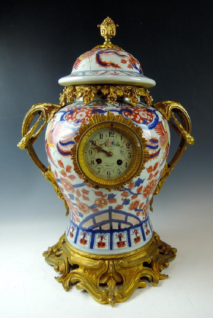 French Dore Bronze Imari Porcelain Mantle Clock