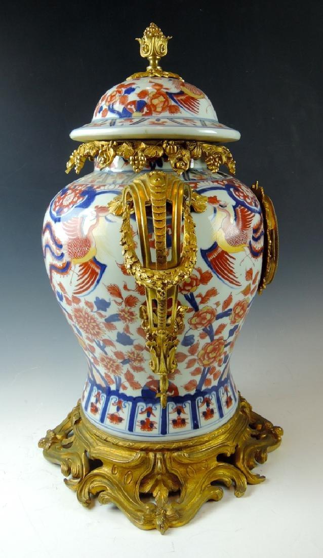French Dore Bronze Imari Porcelain Mantle Clock - 3