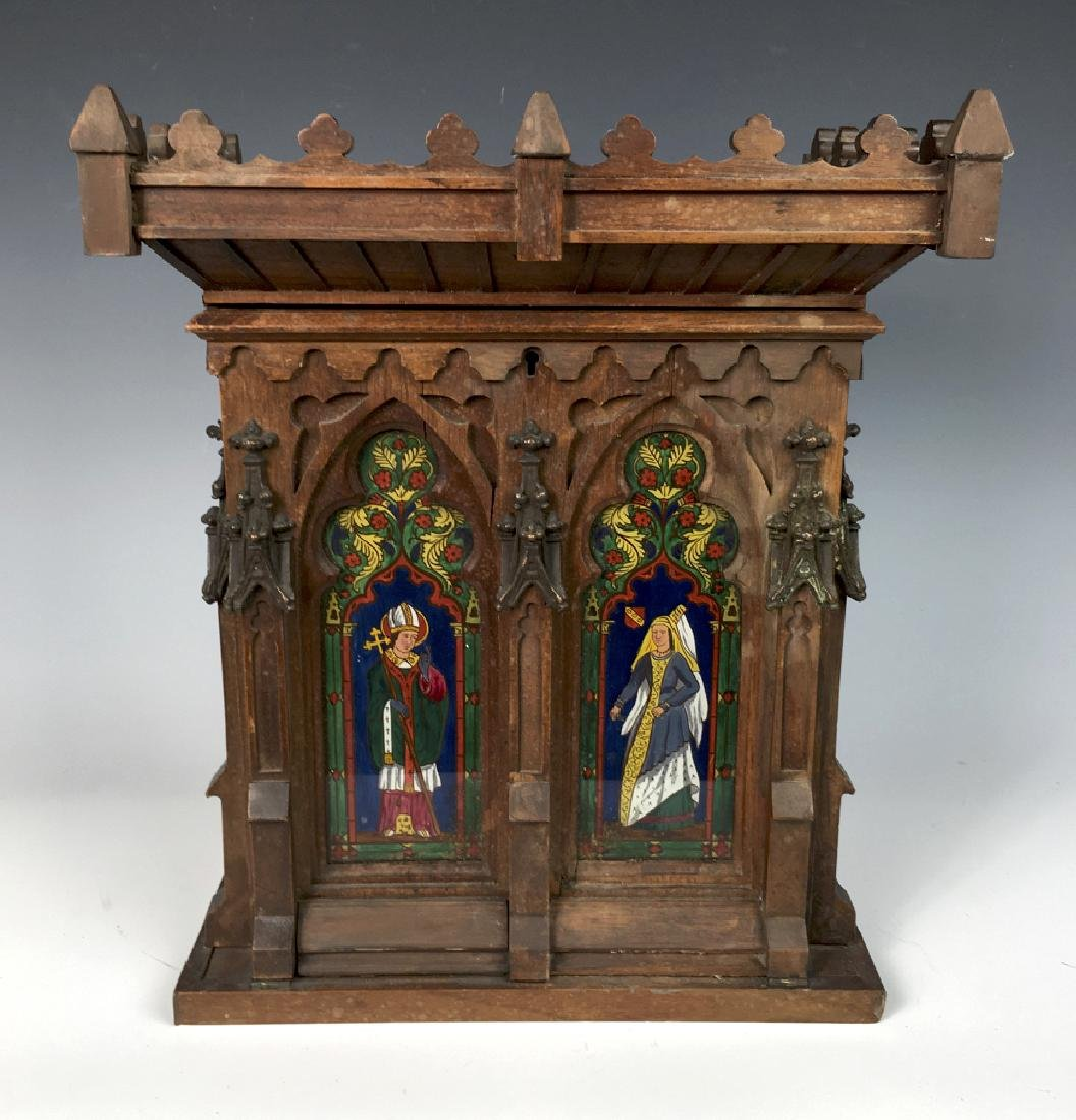 Gothic Style Walnut Reverse Painted Cigar Cabinet
