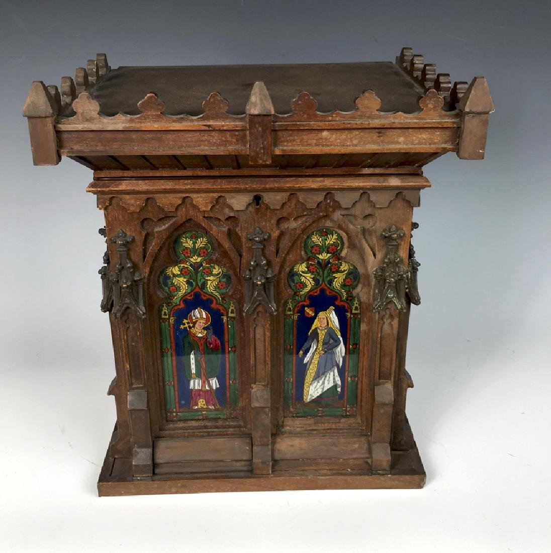 Gothic Style Walnut Reverse Painted Cigar Cabinet - 3