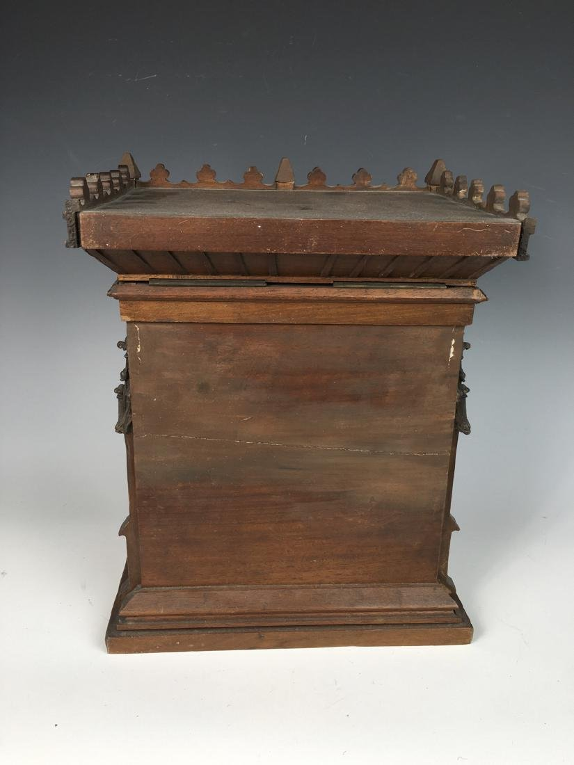 Gothic Style Walnut Reverse Painted Cigar Cabinet - 8