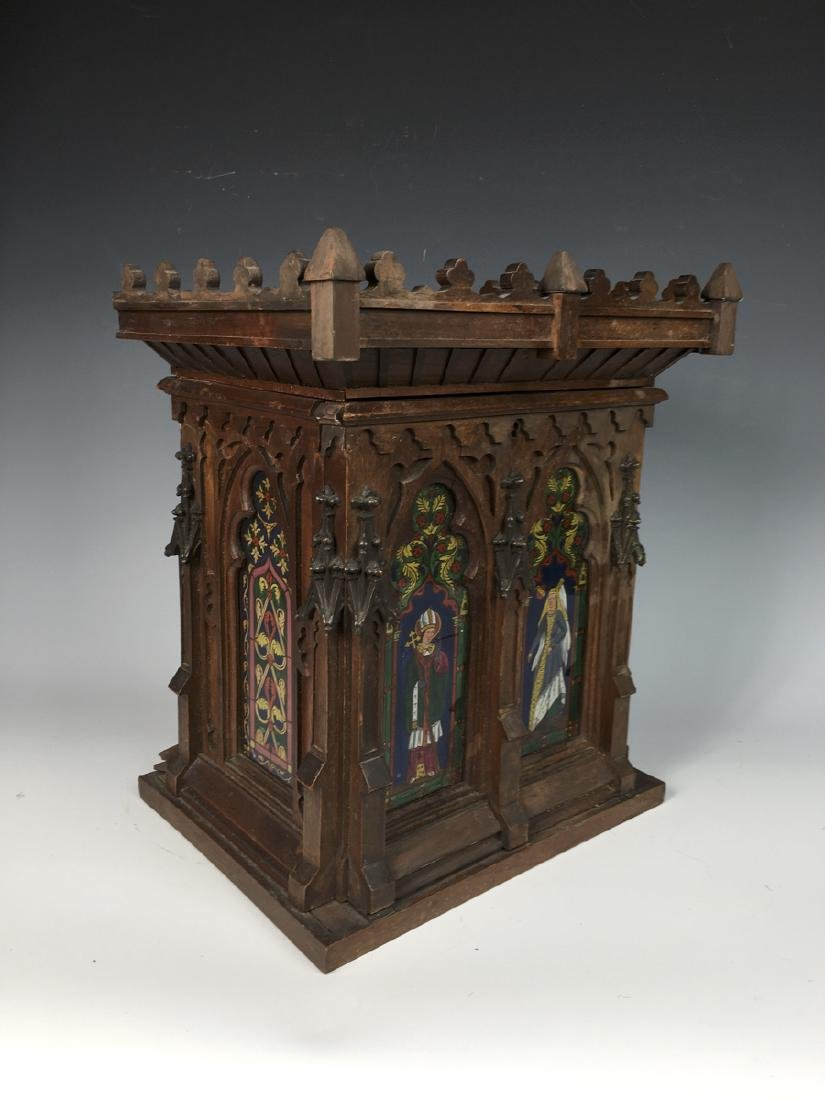 Gothic Style Walnut Reverse Painted Cigar Cabinet - 9