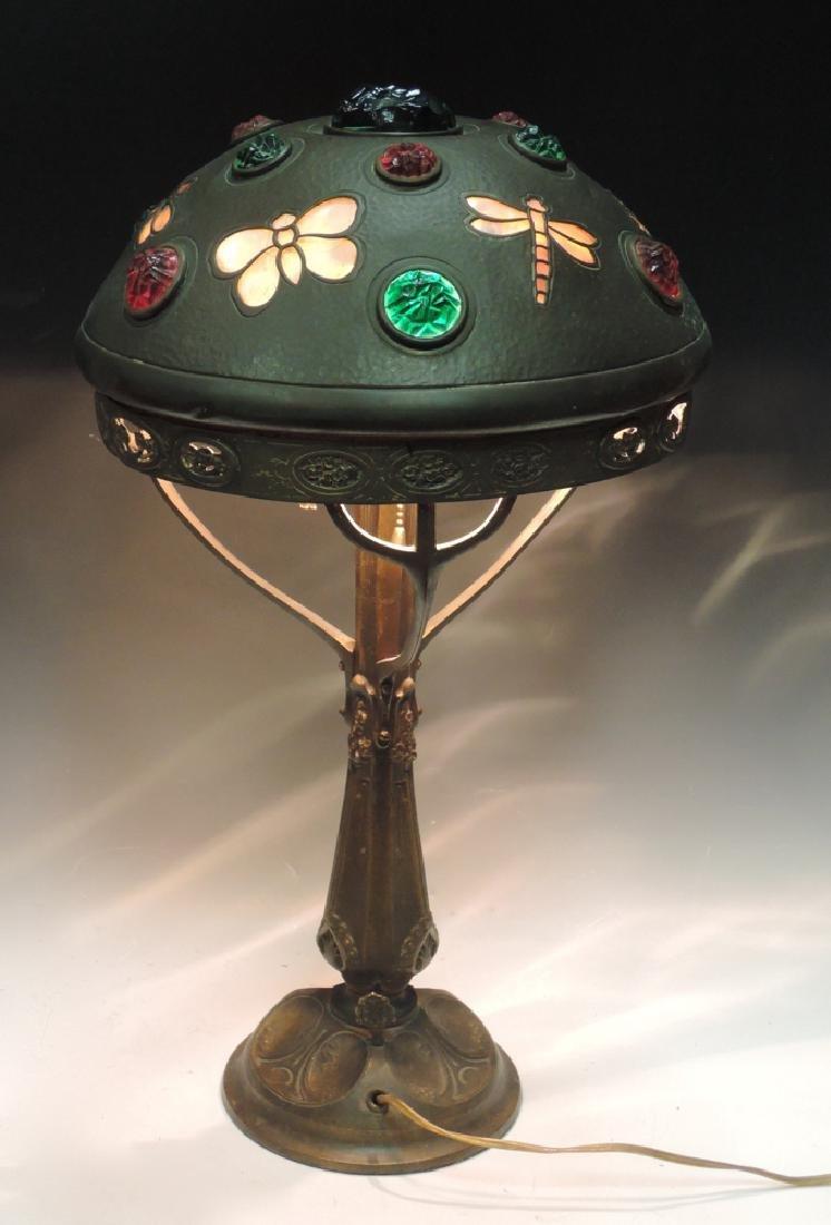 Chunk Glass Table Lamp w Butterflies Dragonflies