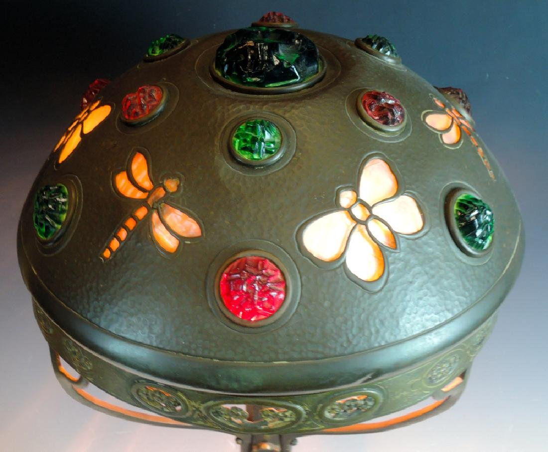 Chunk Glass Table Lamp w Butterflies Dragonflies - 3