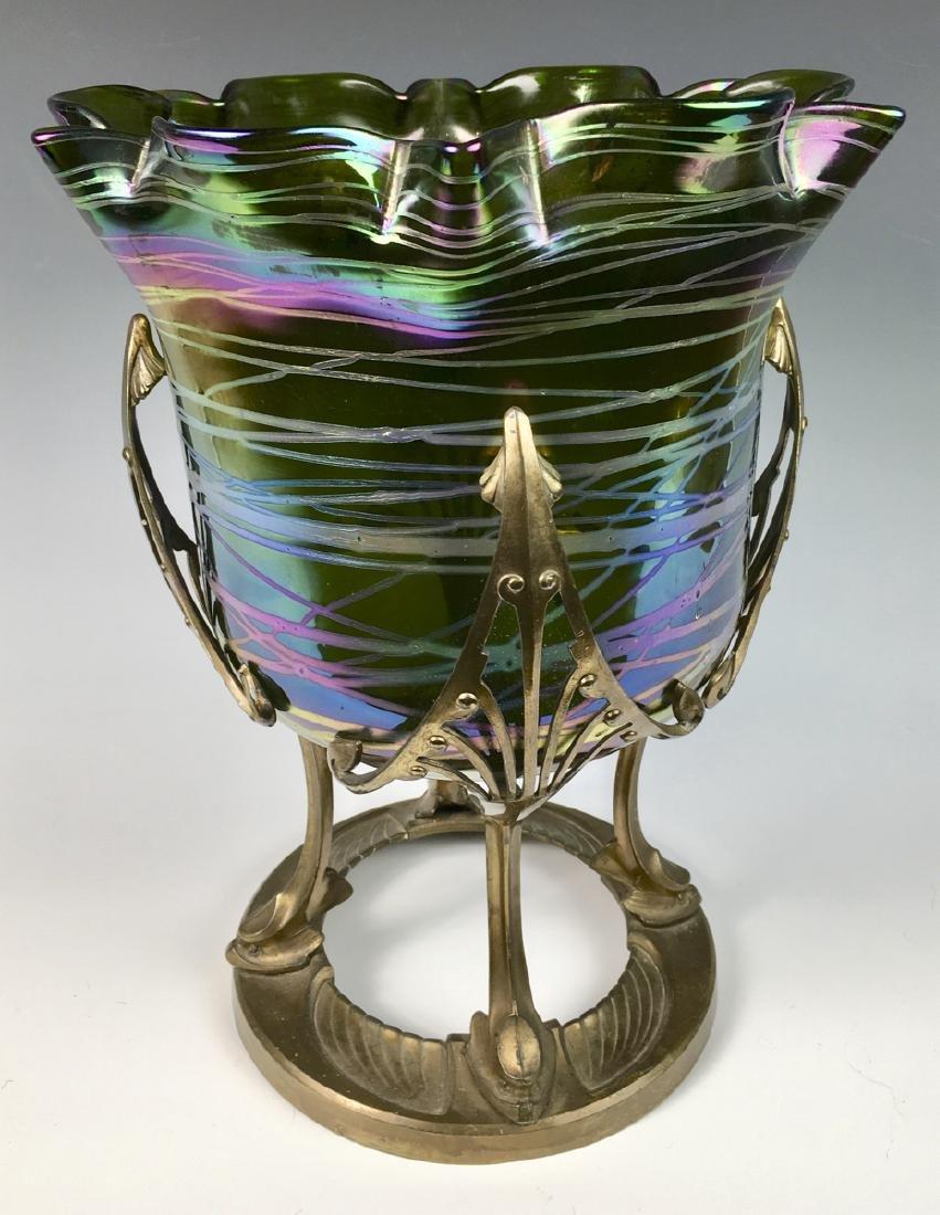 Monumental Loetz Palme Konig Austrian Art Glass Vase