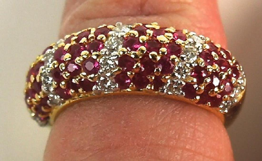 18KT Ruby and Diamond Domed Band Ring