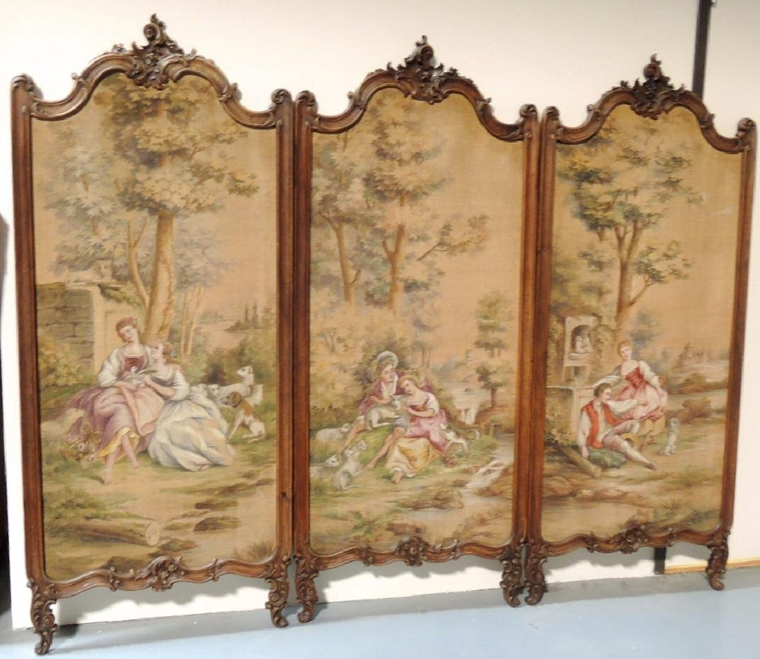 French Aubusson Tapestry Tri-Fold Dressing Screen