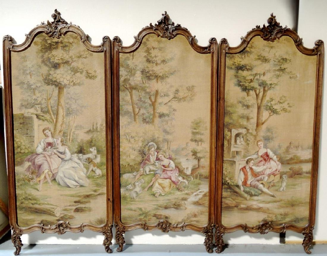 French Aubusson Tapestry Tri-Fold Dressing Screen - 3