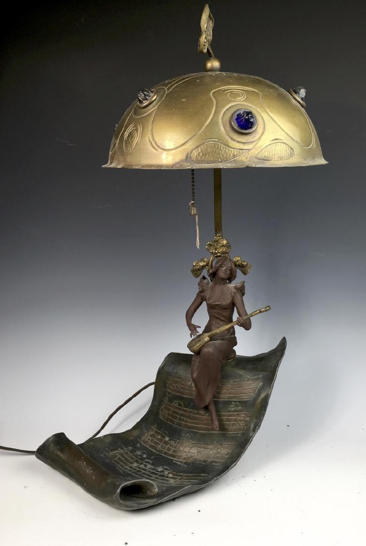 Art Nouveau Figural Lamp with Jewels