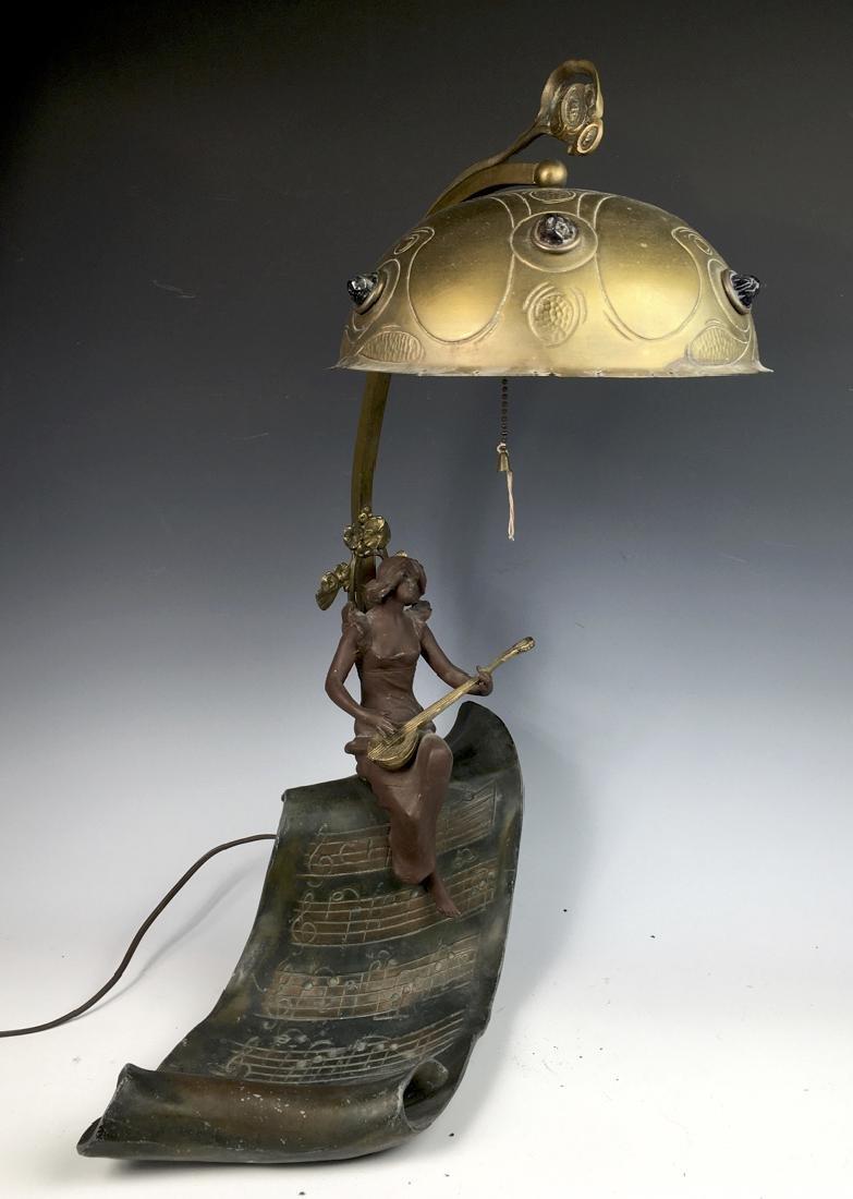 Art Nouveau Figural Lamp with Jewels - 2