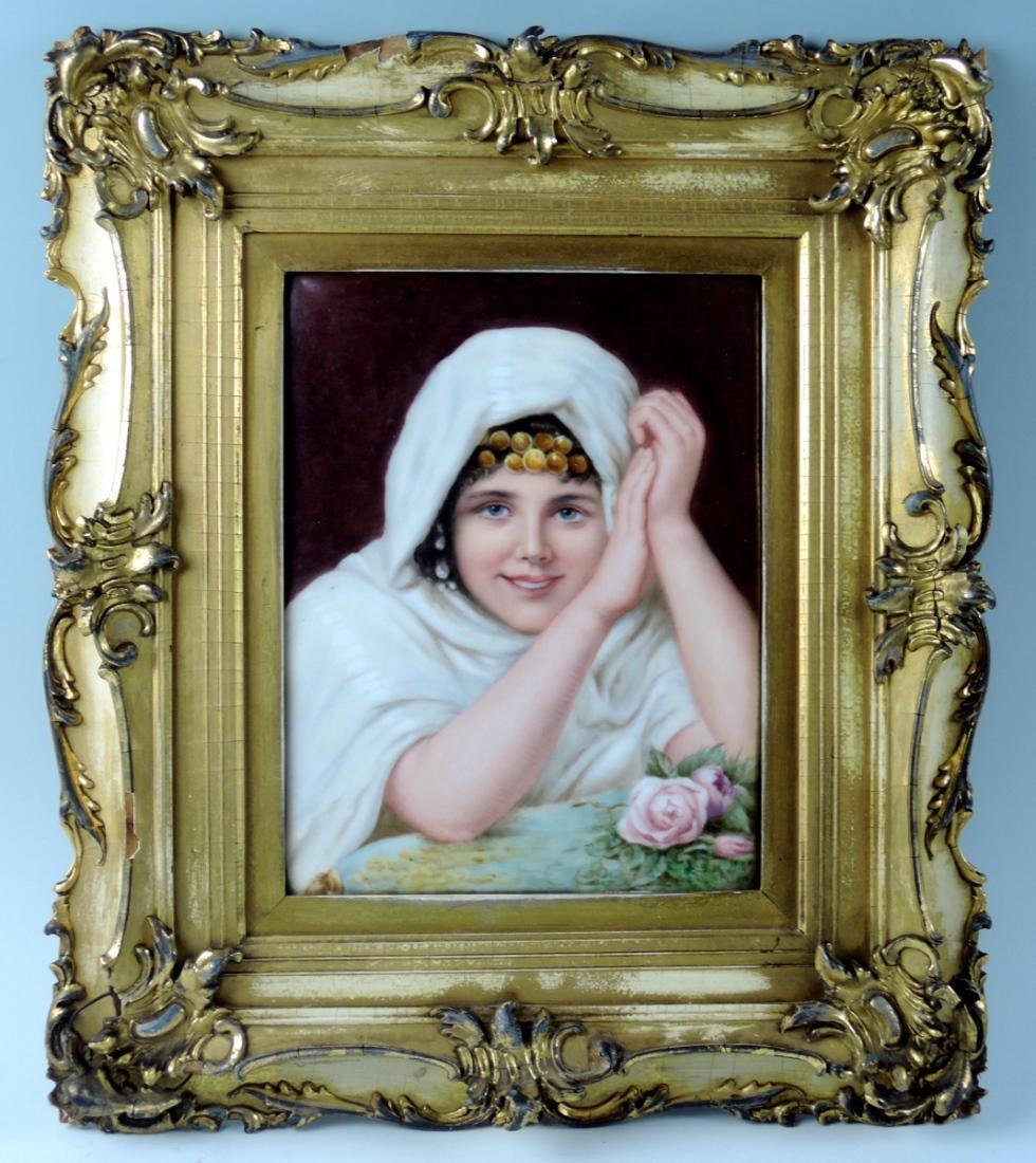 Orientalist Limoges Hand Painted Plaque