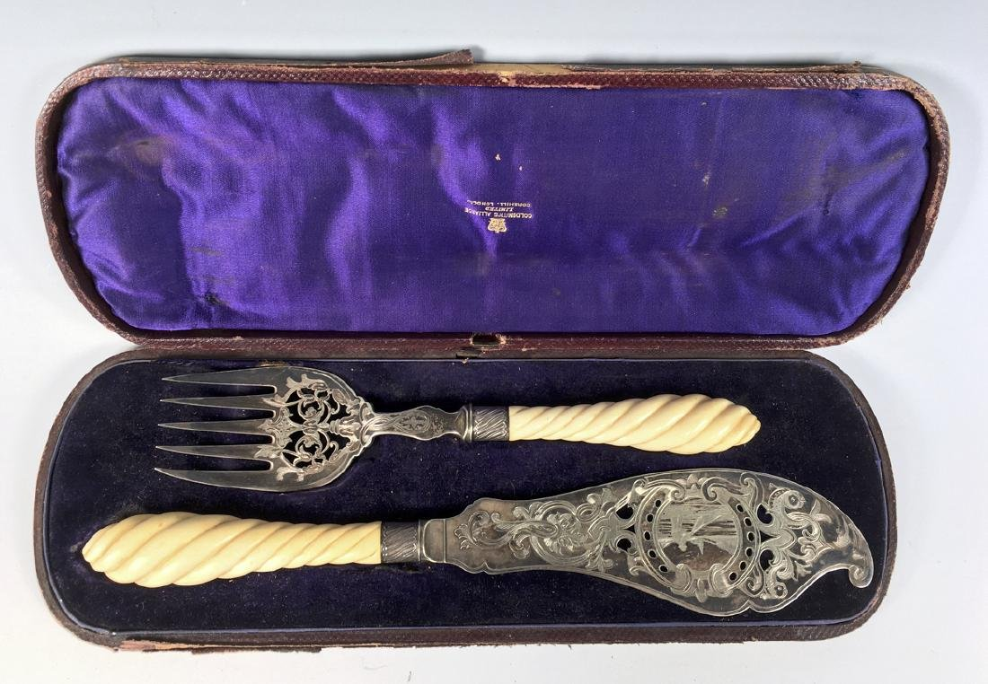 Victorian Silverplate & Bone Fish Set