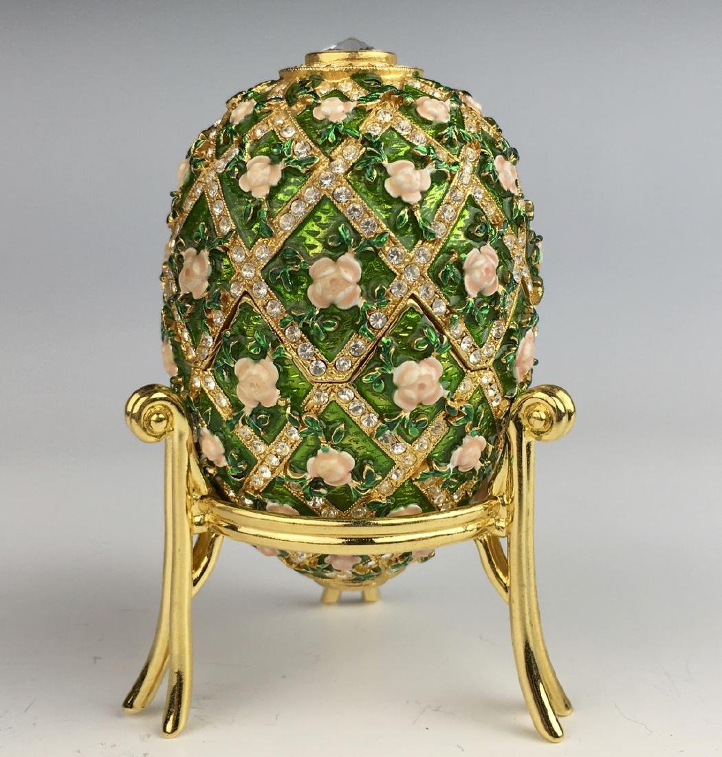 Russian Faberge Style Green & Pink Flowers Egg