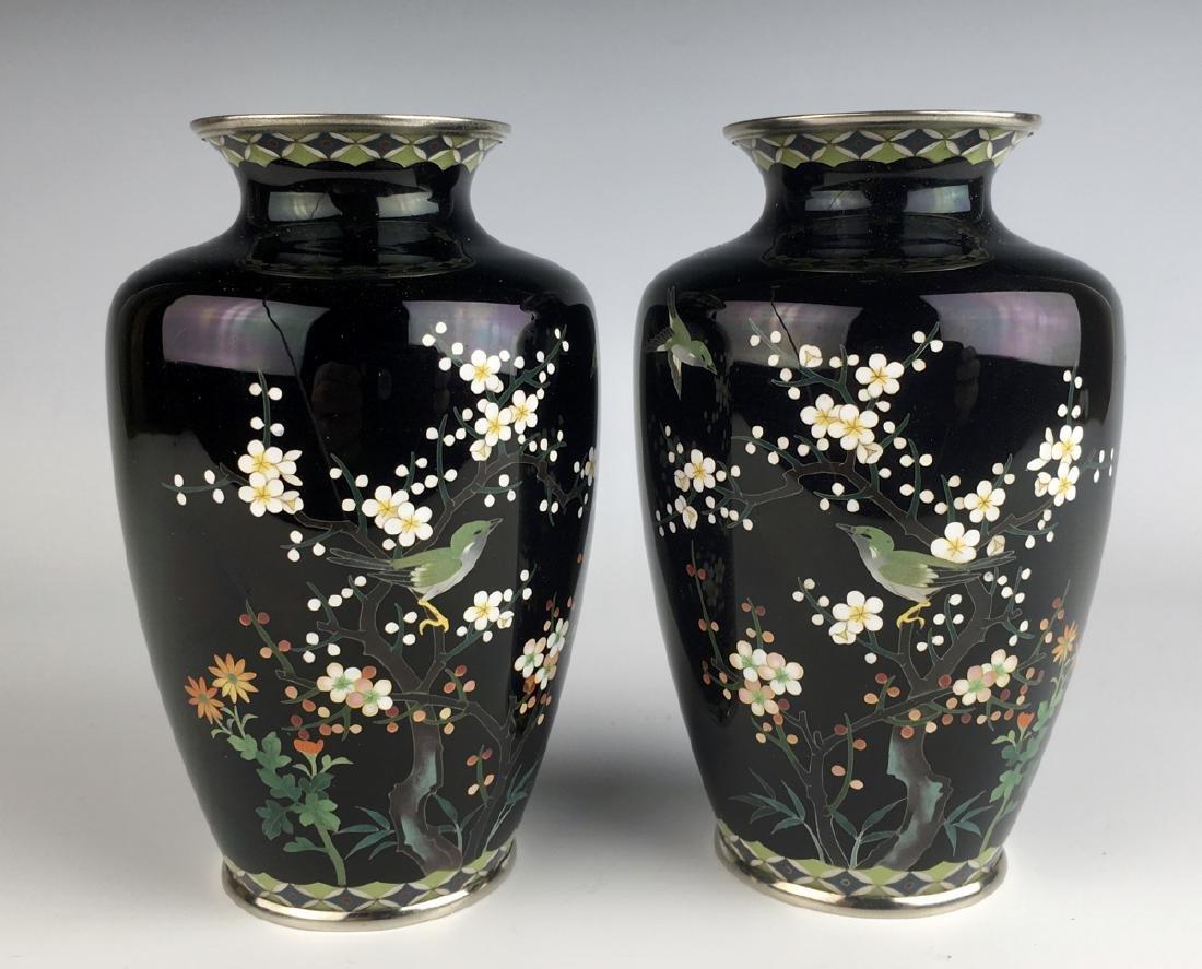 Pair of Japanese Cloisonne Enamel Vases w/ Birds