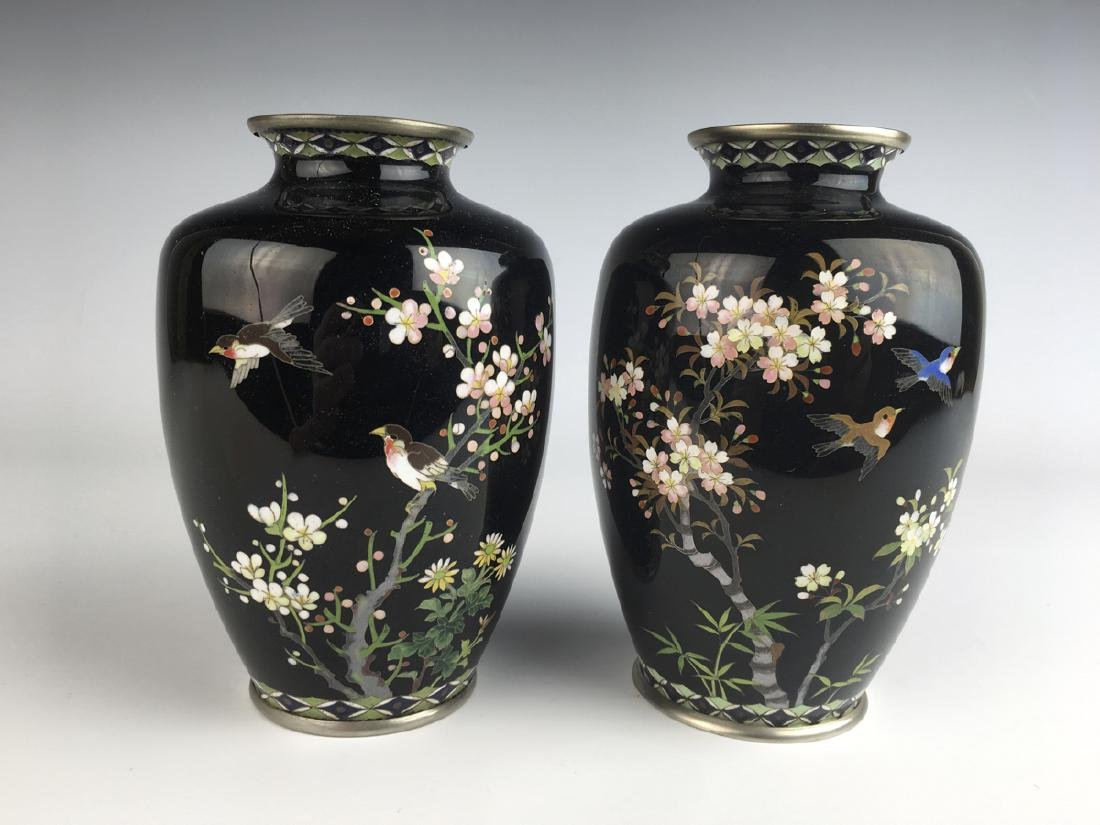 Pair of Japanese Cloisonne Enamel Vases with Birds
