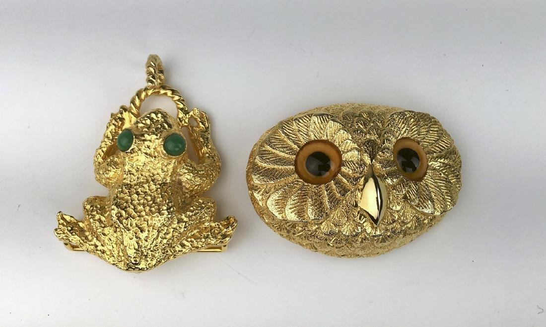Owl and Frog Buckles Signed Mimi di Niscemi