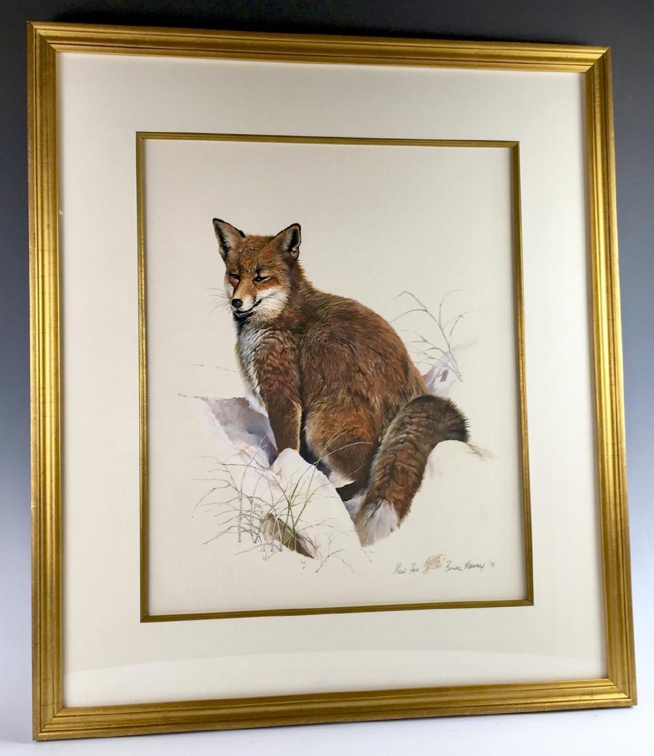 "Bruce Harvey ""Red Fox"" Gouache 1973"