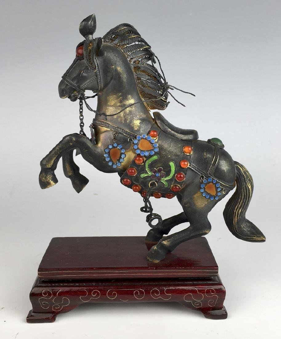 "Chinese Silver & Enamel ""Horse"""