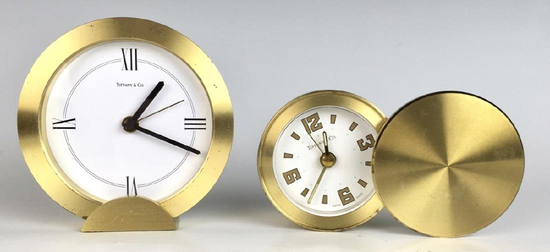 Pair of Tiffany & Co Brushed Brass Travel Clocks