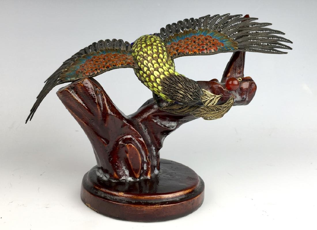 Chinese Silver & Enamel Bird