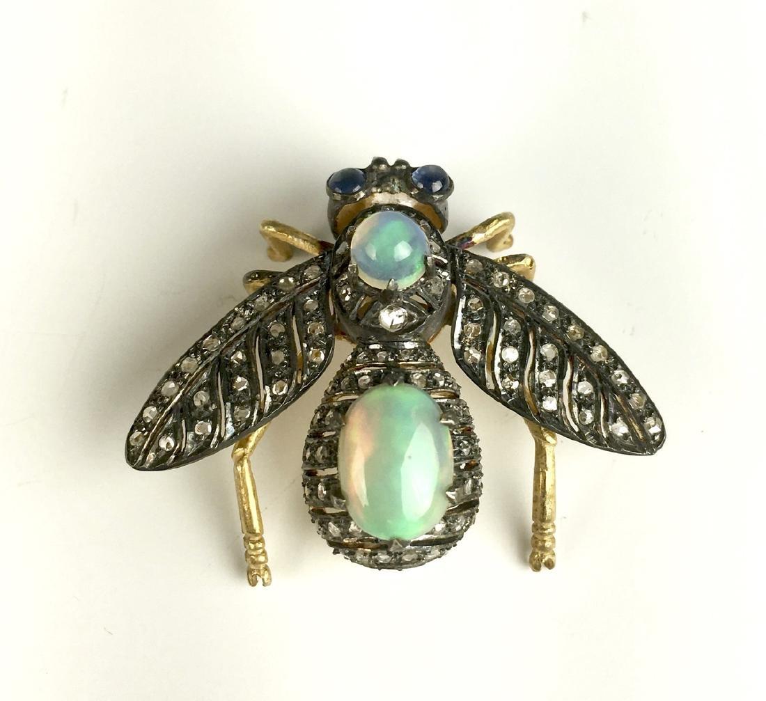 Victorian Style Opal, Diamond, Silver, Bug Brooch